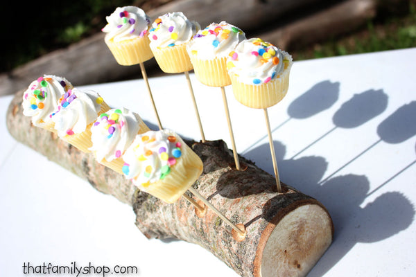 Woodsy 18 Cake Pop Holder Log, Aspen Wood Party Table Display-thatfamilyshop.com
