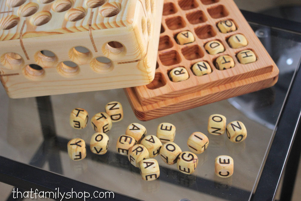 Wooden Big Boggle Family Word Game-thatfamilyshop.com