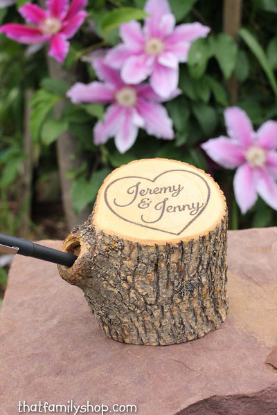 Wedding Guest Book Pen Holder Custom Names Initials Dates Personalized Rustic Decor-thatfamilyshop.com