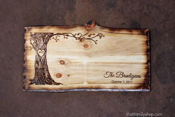 Wedding Guestbook Alternative Rustic Sign Display with Personalized Names Date - thatfamilyshop.com