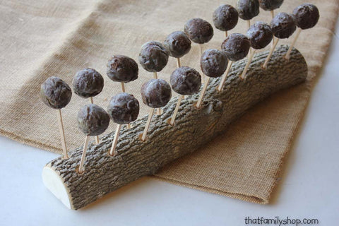 Rustic Cake Pop Holder Log, 18 Cake Pops Wood Party Display-thatfamilyshop.com