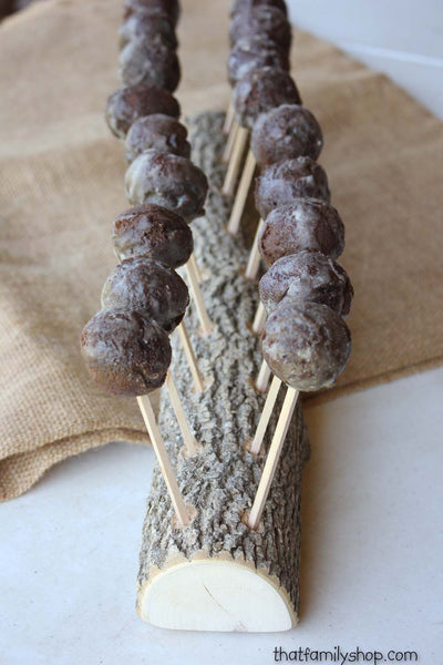 Rustic Cake Pop Holder Log, 18 Cake Pops Wood Party Display - thatfamilyshop.com