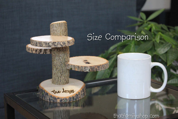 Custom Names Rustic Wedding Log 3 Tiered Stand With Personalized / Customizable Base Wedding Table Centerpiece-thatfamilyshop.com