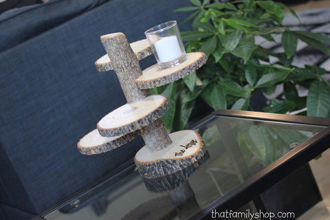 4 Tiered Stand With Personalized / Customizable Base Wedding Table Centerpiece-thatfamilyshop.com