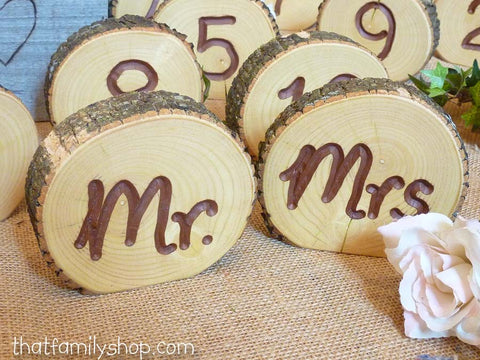 Engraved Mr and Mrs Rustic Slices-thatfamilyshop.com