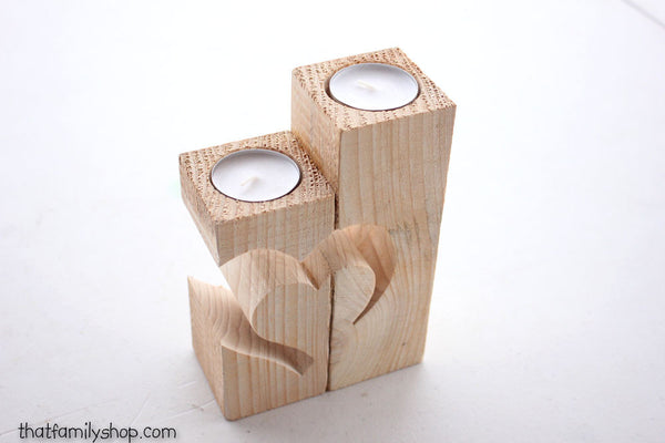 Rustic Barnwood Candle Holder with Unique Heart Design-thatfamilyshop.com