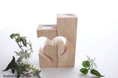 Rustic Barnwood Candle Holder with Unique Heart Design - thatfamilyshop.com