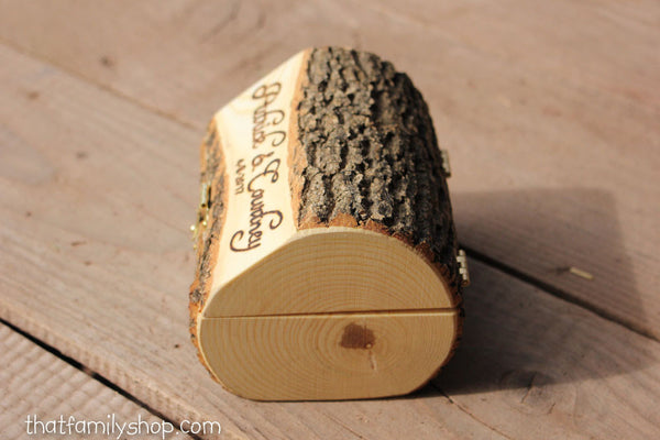 Log Jewelry Box with Personalized Hinged Lid, Pair of Hearts for Ring Ceremony, Jewelry-thatfamilyshop.com