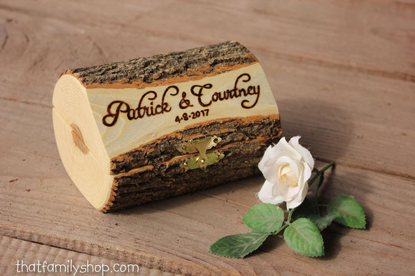 Log Box with Personalized Hinged Lid, Pair of Hearts for Ring Ceremony, Jewelry - thatfamilyshop.com