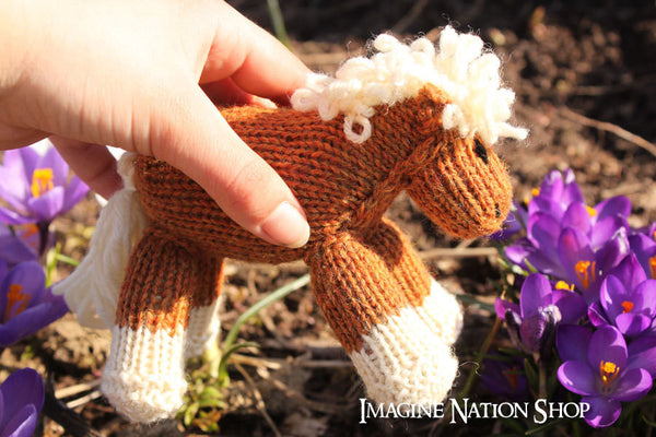 Cindy: Mini Pony, Baby Filly, Plush, Stuffed Horse, Natural Waldorf Toy - thatfamilyshop.com