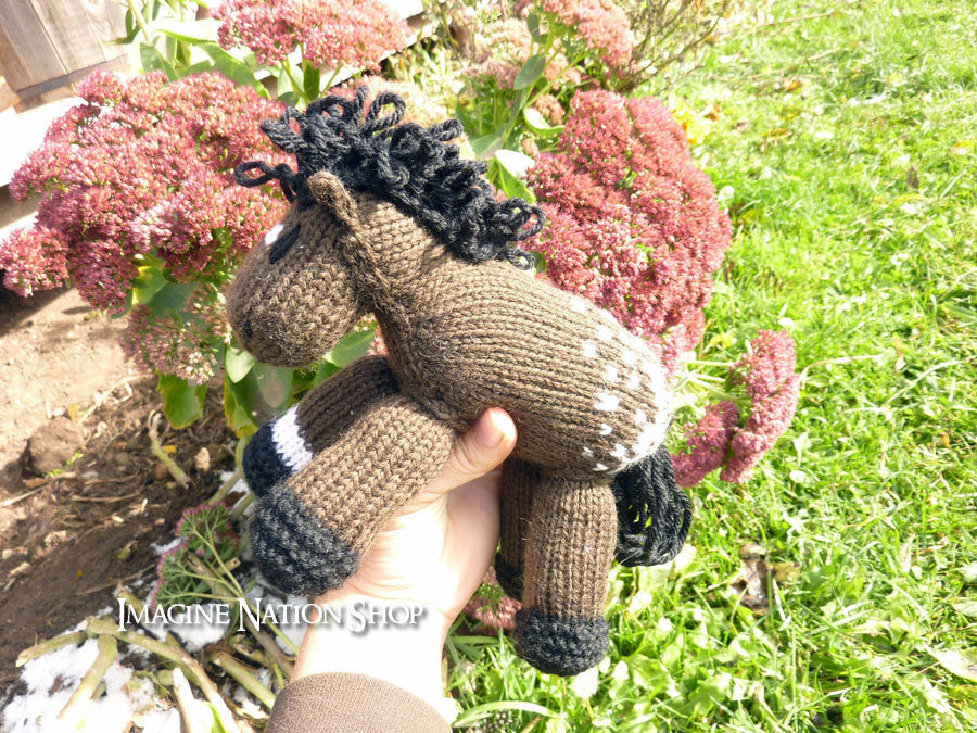 Snowflake: Appaloosa Pony Girl's Soft Horse Toy Stuffed Plush Pony Animal Natural Waldorf Play-thatfamilyshop.com