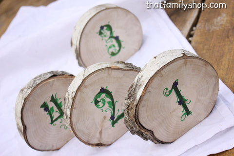 Beautiful Log Table Numbers for Rustic Wedding, Reception Seating Display - thatfamilyshop.com