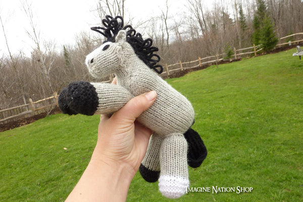 Spunky: Silver Horse Girl's Waldorf Horse Stuffed Animal Pony Baby Toy All Natural-thatfamilyshop.com