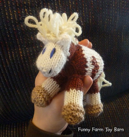 Mini Rain: Pony Knitted Horse Colt Natural Waldorf Toy-thatfamilyshop.com