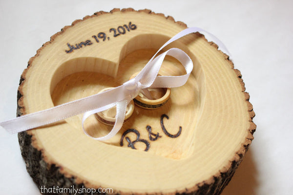 Real Bark Log Ring Pillow Alternative Personalized Name, Date Wedding Decor - thatfamilyshop.com