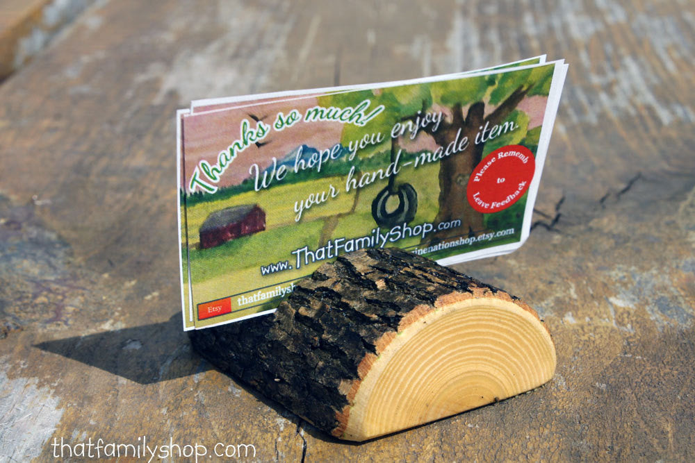 Half-Log Card Holders for Rustic Wedding, Party Place Setting, Reserved Seating Table Number Decor - thatfamilyshop.com