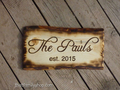 Rustic Burned Edges Border Sign, Custom Wood Plaque, Personalized Cabin Name, Unusual Houswarming Gift for Couples-thatfamilyshop.com