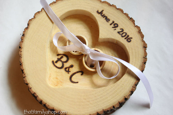 Real Bark Log Ring Pillow Alternative Personalized Name, Date Wedding Decor-thatfamilyshop.com
