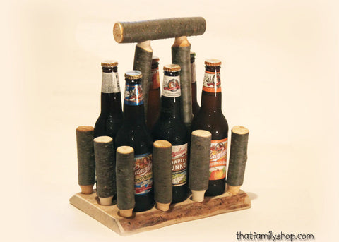 Log Beer Caddy Tote Unique Serving Gift Idea, Wooden Craft Brew Holder for Groomsman, Party Favor, Rustic Anniversary Present - thatfamilyshop.com