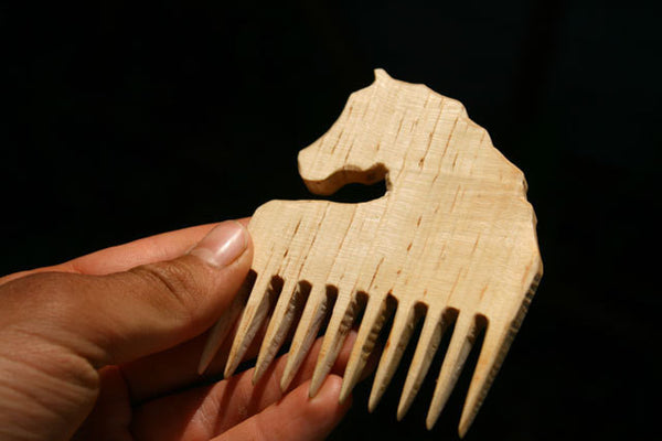Cute Horsey Wooden Comb Hand Carved Natural Horse Head Handle-thatfamilyshop.com