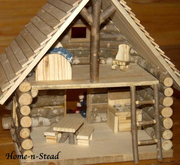 Cabin Dollhouse Includes Furniture Dolls People Accessories Knitted Family Natural Toy Waldorf inspired Set - thatfamilyshop.com