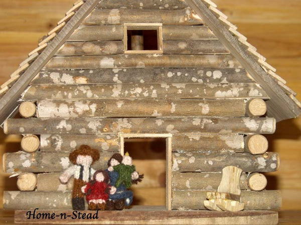 Cabin Dollhouse Includes Furniture Dolls People Accessories Knitted Family Natural Toy Waldorf inspired Set-thatfamilyshop.com