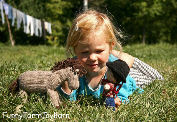 Apples: Knitted Pony Stuffed Animal Horse Natural Waldorf Inspired Eco Friendly Toy - thatfamilyshop.com
