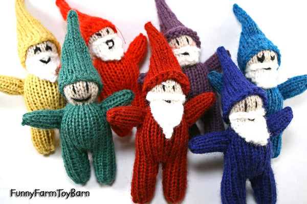 Rainbow Gnome Set / Snow White's Seven Dwarfs Emotive Elves Natural Waldorf Easter Basket Toys - thatfamilyshop.com
