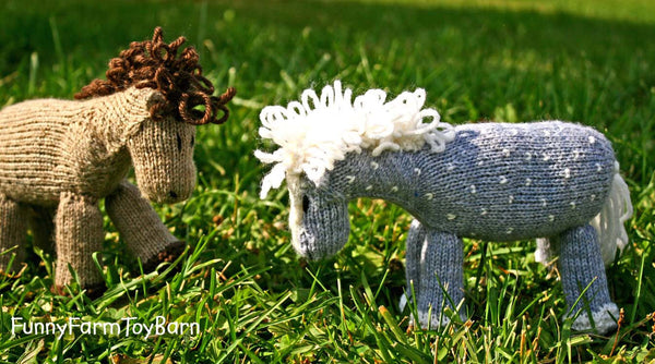 Starlight: Silver Dappled Grey Stuffed Animal Pony Knitted Toy Horse All Natural Wool Waldorf Inspired Play - thatfamilyshop.com