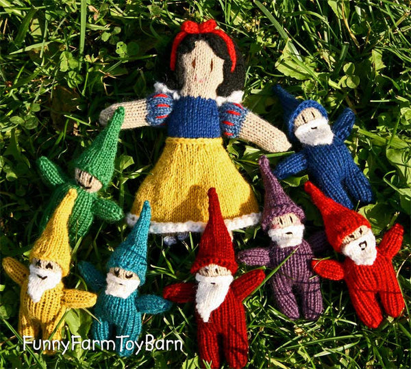 Rainbow Gnome Set / Snow White's Seven Dwarfs Emotive Elves Natural Waldorf Easter Basket Toys-thatfamilyshop.com