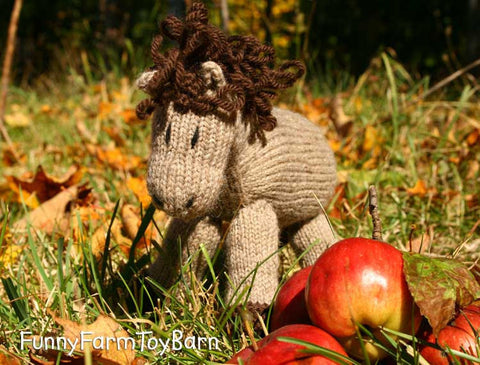 Apples: Knitted Pony Stuffed Animal Horse Natural Waldorf Inspired Eco Friendly Toy-thatfamilyshop.com