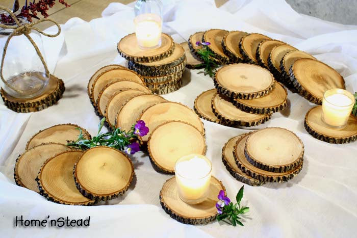 Rustic Wedding Coasters Table Decoration Ash Wood Mason Jar Stands Party Favors - thatfamilyshop.com