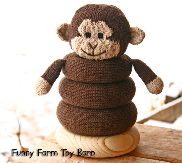 Baby Toy Ring Stacker Monke Stuffed Animal Soft Teething Natural Waldorf Inspired Play-thatfamilyshop.com