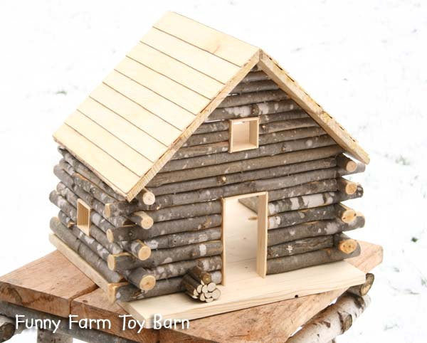 Log cabin dollhouse natural waldorf custom sized girl 39 s for Selling a log home