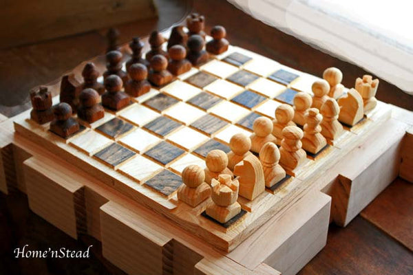 Chess Set Hand Turned Wooden Pieces Rustic Burned Board King Queen - thatfamilyshop.com