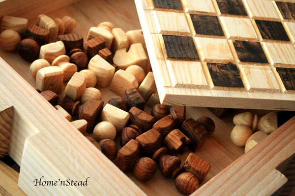 Chess Set Hand Turned Wooden Pieces Rustic Burned Board King Queen-thatfamilyshop.com