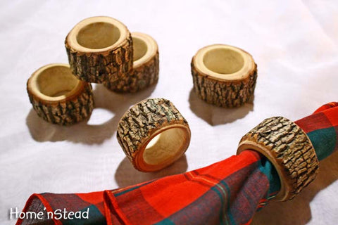 Rustic Napkin Rings (6 pcs) Holders Wedding Decor Log Home Kitchen Party Favor Holiday Table Decor - thatfamilyshop.com