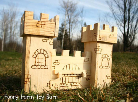 Toy Castle Dollhouse Wooden Play Kids Medieval Towers Natural Waldorf - thatfamilyshop.com