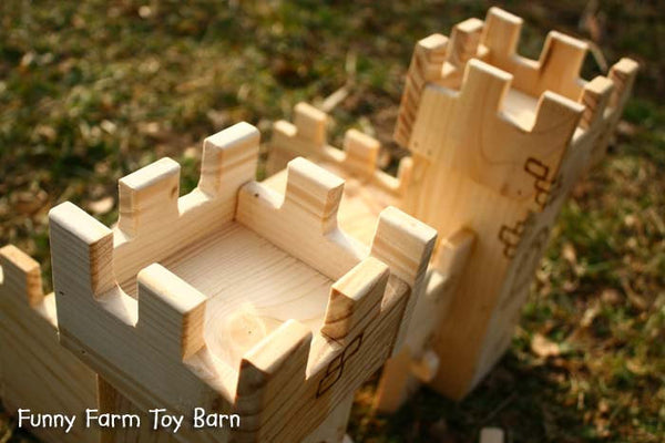 Toy Castle Dollhouse Wooden Play Kids Medieval Towers Natural Waldorf-thatfamilyshop.com