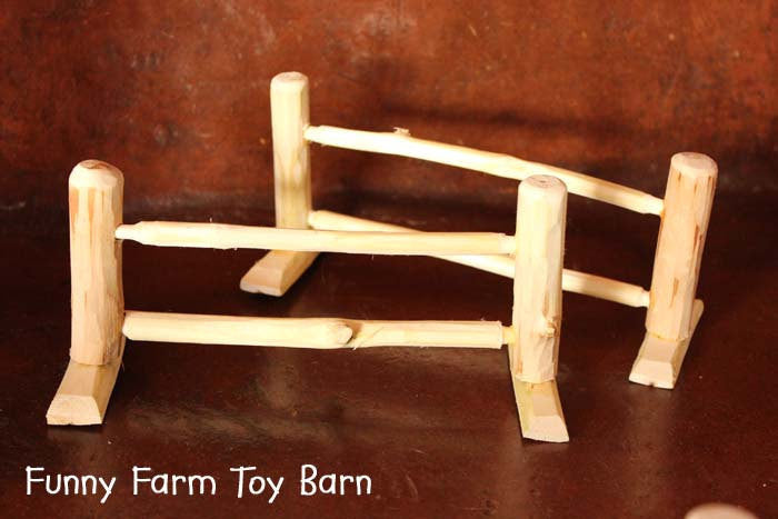 Set of 5 Toy Fence Pieces Rustic Natural Wood Fencing Waldorf Animals Farm Set-thatfamilyshop.com