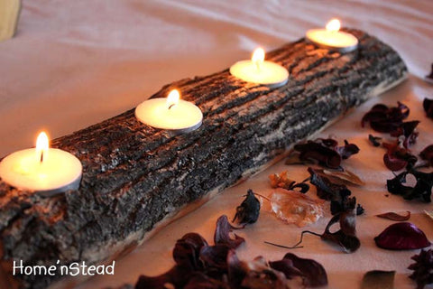 Log Candle Holder - Rustic Wedding Woodsy Table Decor, Bridesmaids Gifts Favors, Centerpiece Setting Display-thatfamilyshop.com