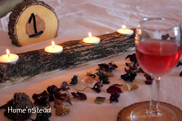 Log Candle Holder - Rustic Wedding Table Decor, Bridesmaids Gifts Favors, Centerpiece Display - thatfamilyshop.com