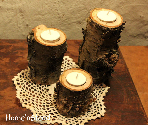 Log Candles Yellow Birch Rustic Wedding / Cabin Decor Table Center Piece Primitive Home - thatfamilyshop.com