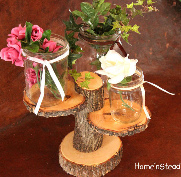 3-Tiered Rustic Wedding Decor Tree Mason Jar / Candle Stand Table Center Piece Holder - thatfamilyshop.com