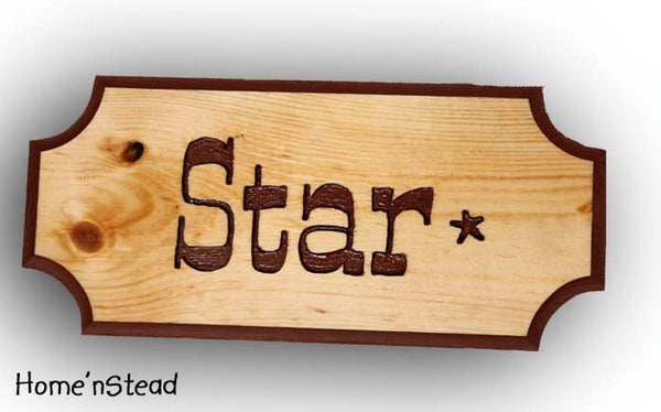 Customizable Engraved Wood Stall Sign Name Plaques Pet Animal Signs Wood Dog House Plaque - thatfamilyshop.com