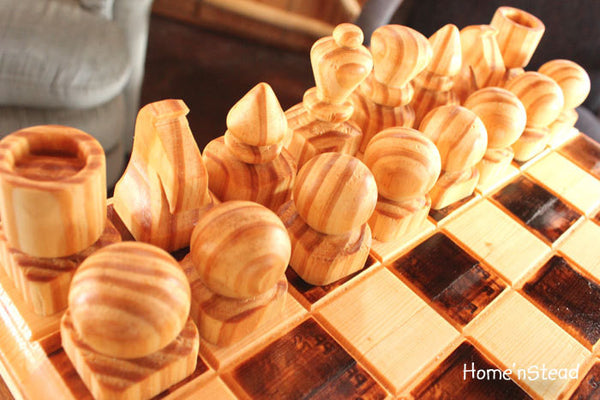 Handmade Chess Set with Heavy Board and Built-in Drawers Family Heirloom-thatfamilyshop.com