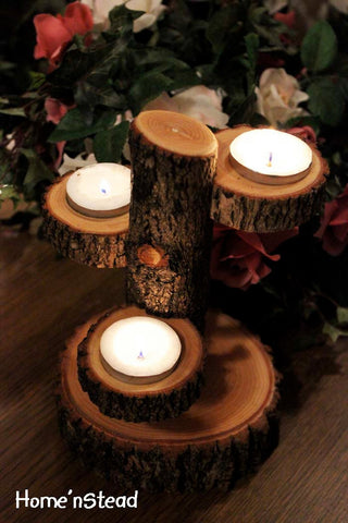 Tiered Candle Holder Stand / Rustic Wedding / Home Decor Candle Tree - thatfamilyshop.com