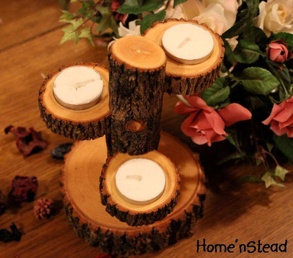 Tiered Candle Holder Stand / Rustic Wedding / Home Decor Candle Tree-thatfamilyshop.com