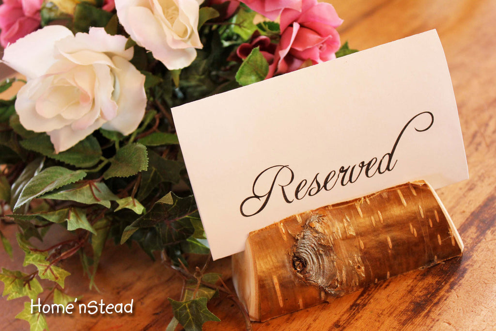 Rustic Wedding Card Stand Reserved Table Numbers Place Setting Business Card Holder - thatfamilyshop.com