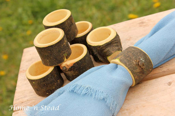 Set of (8) Branch Napkin Rings Holders, Log Home Kitchen Party Favors, Wood Table Accessories - thatfamilyshop.com